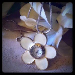 Vintage Enamel Flower Watch Pendant Necklace